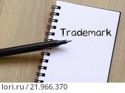 Купить «Trademark write on notebook», фото № 21966370, снято 22 марта 2019 г. (c) PantherMedia / Фотобанк Лори
