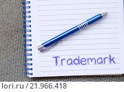 Купить «Trademark write on notebook», фото № 21966418, снято 22 марта 2019 г. (c) PantherMedia / Фотобанк Лори