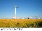 Купить «Два ветряных электрогенератора на рапсовом поле августовским вечером. Эстония», фото № 21972962, снято 1 августа 2015 г. (c) Виктор Карасев / Фотобанк Лори