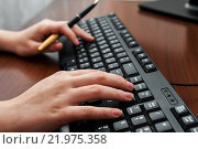 Купить «Программист работает на клавиатуре компьютера», эксклюзивное фото № 21975358, снято 25 февраля 2016 г. (c) Игорь Низов / Фотобанк Лори