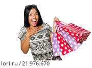 Купить «Woman with shopping bags isolated on white», фото № 21976670, снято 28 августа 2015 г. (c) Elnur / Фотобанк Лори