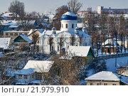Крестовоздниженская церковь в Могилеве на фоне зимнего городского пейзажа (2016 год). Стоковое фото, фотограф Никита Ковалёв / Фотобанк Лори