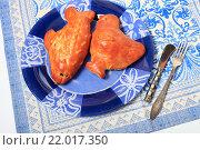 Купить «Пироги с начинкой в виде рыбки и курочки на тарелке», эксклюзивное фото № 22017350, снято 1 марта 2016 г. (c) Яна Королёва / Фотобанк Лори