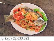 Запеченная рыба в азиатском стиле (2016 год). Стоковое фото, фотограф Алексей Сварцов / Фотобанк Лори
