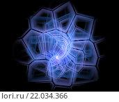Абстрактные фрактальные асимметричные клетки, скрученные в спираль. Стоковая иллюстрация, иллюстратор Елена Уткина / Фотобанк Лори