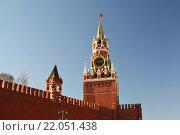 Купить «Spasskaya tower of Moscow Kremlin, Russia», фото № 22051438, снято 18 февраля 2016 г. (c) Володина Ольга / Фотобанк Лори