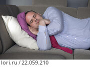 Купить «businessman lying on couch and sleeps», фото № 22059210, снято 22 апреля 2019 г. (c) PantherMedia / Фотобанк Лори