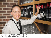 Купить «Barmaid taking bottle out of shelf», фото № 22074210, снято 24 октября 2015 г. (c) Wavebreak Media / Фотобанк Лори