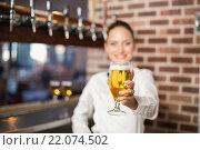 Купить «Barmaid holding a beer», фото № 22074502, снято 24 октября 2015 г. (c) Wavebreak Media / Фотобанк Лори