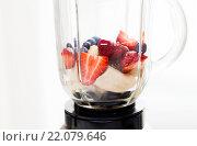 Купить «close up of blender shaker with fruits and berries», фото № 22079646, снято 26 апреля 2015 г. (c) Syda Productions / Фотобанк Лори