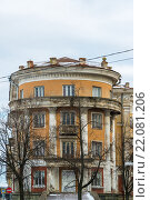 Купить «Tver, Russia - February 27. 2016. House Voroshilov shooters , a monument of architecture of Stalin era», фото № 22081206, снято 27 февраля 2016 г. (c) Володина Ольга / Фотобанк Лори