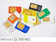 Купить «СИМ-карты Российских операторов связи», фото № 22100662, снято 8 марта 2016 г. (c) Sashenkov89 / Фотобанк Лори