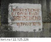 Старая надпись на стене возле моря о штрафе для нудистов на запрет нахождения в голом виде. Стоковое фото, фотограф Наталья Корзина / Фотобанк Лори