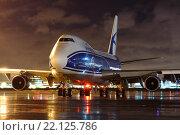Самолет Боинг 747-400F авиакомпании Air Bridge Cargo (бортовой номер VP-BIG) во время запуска двигателей в аэропорту Шереметьево (2015 год). Редакционное фото, фотограф Sergey Kustov / Фотобанк Лори