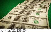 Купить «Фон из ста долларовых банкнот», видеоролик № 22138554, снято 28 января 2016 г. (c) Андрей Армягов / Фотобанк Лори
