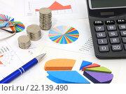 Купить «Калькулятор, графики, диаграммы, ручка, очки и монеты. Бизнес-натюрморт», эксклюзивное фото № 22139490, снято 7 марта 2016 г. (c) Юрий Морозов / Фотобанк Лори