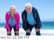 Купить «Mature couple tired after running», фото № 22165174, снято 19 ноября 2015 г. (c) Wavebreak Media / Фотобанк Лори