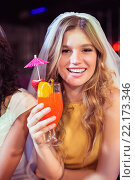 Купить «Pretty girl with cocktail», фото № 22173346, снято 22 сентября 2015 г. (c) Wavebreak Media / Фотобанк Лори