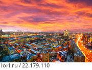 Купить «Закатное небо над Москвой», фото № 22179110, снято 14 декабря 2012 г. (c) Зобков Георгий / Фотобанк Лори