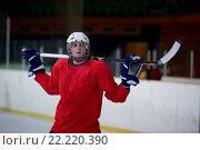 Купить «ice hockey player portrait», фото № 22220390, снято 26 мая 2020 г. (c) easy Fotostock / Фотобанк Лори
