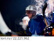 Купить «ice hockey players on bench», фото № 22221962, снято 22 мая 2019 г. (c) easy Fotostock / Фотобанк Лори