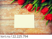 Купить «close up of red tulips and blank paper or letter», фото № 22225794, снято 3 марта 2015 г. (c) Syda Productions / Фотобанк Лори