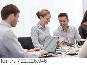 Купить «smiling business people with tablet pc in office», фото № 22226046, снято 25 октября 2014 г. (c) Syda Productions / Фотобанк Лори