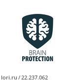 Векторный логотип с мозгом, креативные идеи. Стоковая иллюстрация, иллюстратор Алексей Бутенков / Фотобанк Лори