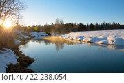 Купить «Солнечный весенний пейзаж в Московской области», фото № 22238054, снято 13 марта 2016 г. (c) Валерий Боярский / Фотобанк Лори