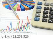 Купить «Калькулятор, графики, диаграммы и карандаш. Бизнес-натюрморт», эксклюзивное фото № 22238526, снято 14 марта 2016 г. (c) Юрий Морозов / Фотобанк Лори