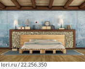 Купить «Rustic bedroom with pallet double bed», фото № 22256350, снято 20 февраля 2020 г. (c) PantherMedia / Фотобанк Лори