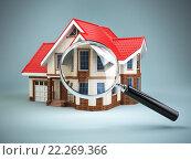 Купить «House and loupe magnifying glass. Real estate searching concept. House search and house hunting.», фото № 22269366, снято 22 мая 2018 г. (c) Maksym Yemelyanov / Фотобанк Лори