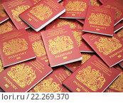 Купить «UK British passports for United Kingdom of Great Britain and Northern Ireland background, UK passport.», фото № 22269370, снято 17 июня 2019 г. (c) Maksym Yemelyanov / Фотобанк Лори