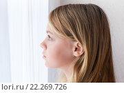 Купить «Портрет девочки, смотрящей в окно», фото № 22269726, снято 23 августа 2014 г. (c) EugeneSergeev / Фотобанк Лори