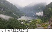 Купить «Geiranger Fjord (Norway) Summer Top View», видеоролик № 22272742, снято 16 марта 2016 г. (c) Юрий Брыкайло / Фотобанк Лори