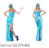 Купить «Fashion concept with tall model on white», фото № 22273462, снято 24 октября 2012 г. (c) Elnur / Фотобанк Лори