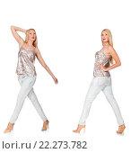 Купить «Composite photo of woman in various poses», фото № 22273782, снято 1 сентября 2014 г. (c) Elnur / Фотобанк Лори