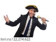 Купить «Pirate businessman holding the microphone isolated on white», фото № 22274622, снято 6 мая 2015 г. (c) Elnur / Фотобанк Лори