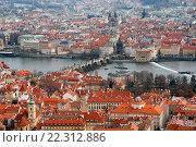 Купить «Прага. Панорамный вид на старый город и Карлов мост с высоты птичьего полёта», эксклюзивное фото № 22312886, снято 21 марта 2016 г. (c) Svet / Фотобанк Лори