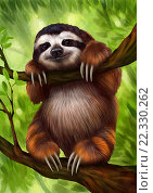 Купить «Ленивец», иллюстрация № 22330262 (c) Елена Саморядова / Фотобанк Лори