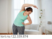 plus size woman exercising and stretching at home. Стоковое фото, фотограф Syda Productions / Фотобанк Лори