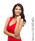 beautiful sexy woman in red dress. Стоковое фото, фотограф Syda Productions / Фотобанк Лори