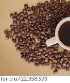 Чашка кофе и зерна. Стоковое фото, фотограф Иманова Ирина / Фотобанк Лори