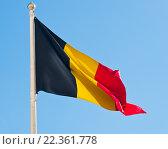 Флаг Бельгии на фоне неба. Стоковое фото, фотограф E. O. / Фотобанк Лори