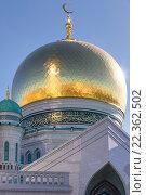 Купить «Крупным планом огромный купол Московской Соборной мечети в городе Москве, Россия», фото № 22362502, снято 27 марта 2016 г. (c) Николай Винокуров / Фотобанк Лори