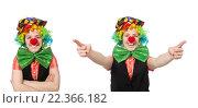 Купить «Female clown isolated on white», фото № 22366182, снято 7 марта 2015 г. (c) Elnur / Фотобанк Лори
