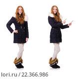 Купить «Pretty girl in warm clothes isolated on white», фото № 22366986, снято 6 ноября 2013 г. (c) Elnur / Фотобанк Лори