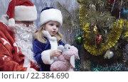 Купить «Дед Мороз и Снегурочка у елки», видеоролик № 22384690, снято 9 февраля 2016 г. (c) Потийко Сергей / Фотобанк Лори