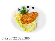Купить «Жареная красная рыба», фото № 22385386, снято 12 июля 2013 г. (c) Ильин Роман / Фотобанк Лори