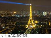Купить «Вид на ночной Париж и Эйфелеву башню с Монпарнас», фото № 22397438, снято 20 августа 2015 г. (c) Илья Бесхлебный / Фотобанк Лори
